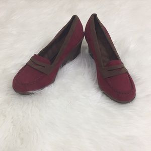 Shoes - Maroon and Brown Suede Slip On Loafer Wedges